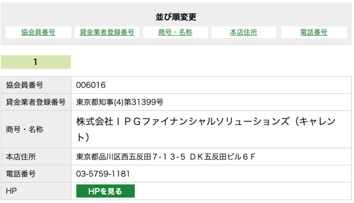 キャレントの日本賃金協会員検索結果