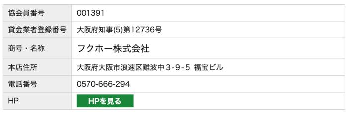 フクホーの日本賃金協会員検索結果