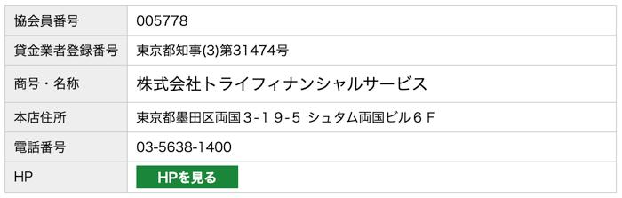 トライフィナンシャルサービスの日本賃金協会員検索結果